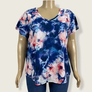 Sonoma Blue Pink Watercolor Floral V-Neck Shirt 2X